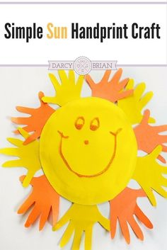Looking for fun and easy preschool crafts to do at home? Make a handprint sun craft with your kids using minimal materials. Great for toddlers too!