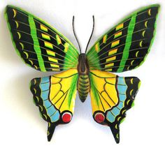 """Butterfly Wall Decor - Hand Painted Metal Tropical Home Decor - 13"""" x 18""""  Brightly hand painted metal butterfly wall hanging. Add color to your patio or your indoor decor."""