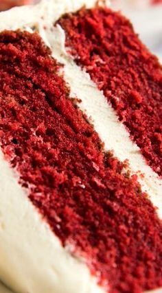 "A Moist, Classic Red Velvet Cake ~ Made from scratch, and surprisingly easy when a few simple steps are followed... This has a soft ""velvet"" texture, just like what you get from top end fine bakeries. And topped with plenty – PLENTY – of cream cheese frosting!"