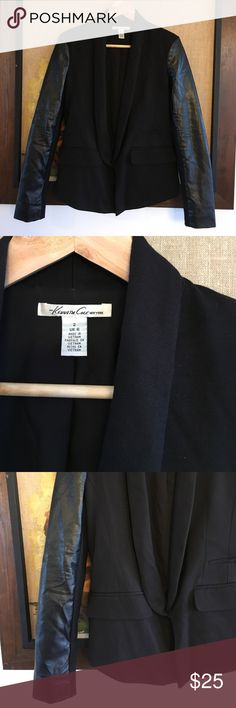 Kenneth Cole Faux Leather Blazer Super chic tuxedo style Blazer by Kenneth Cole. Faux leather arms. Kenneth Cole Jackets & Coats Blazers