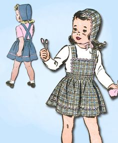 Advance Pattern 3389 Toddler Girl's Pinafore Apron Dress Pattern with Bonnet Charming WWII Design Dated 1943 Complete Nice Condition 7 of 7 Pieces Unprinted Pattern Pieces Counted. Verified. Guarantee