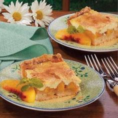 ~Sour Cream Peach Kuchen~ melt-in-your-mouth crust and a lightly sweet filling!     This is the recipe I've been using for years  is superb. It's superior to the easy 'Peachy Keen Bars' I've got pinned  tried recently. We prefer the sour cream over the cream cheese (PLUS I can control the sugar by using Splenda exclusively  subbing 1/2 the flour with WW pastry flour :)
