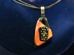 Dichroic Multi-Color Fused Glass Pendant Polka Dots on Light Coral on Black// Dichroic Pendant/Jewelry//Handmade in USA by laughmyglassoff on Etsy