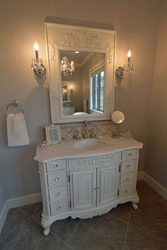 Master Bath Featuring Dual Stand Alone Custom Vanities Travertine Diagonal Backsplash