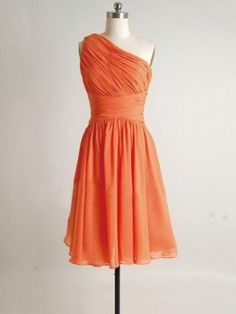 cheap orange one shoulder knee length pleating bridesmaid dress | Cheap bridesmaid dresses Sale