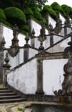 Stairs + Finials + Topiaries