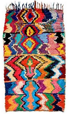 A Berber-made boucherouite rug a Moroccan version of the western rag rug!