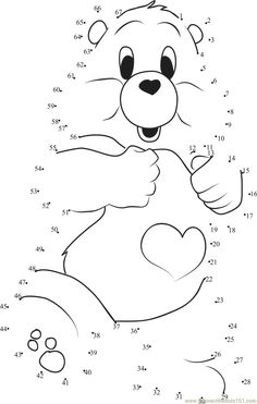 Special Care Bear dot to dot printable worksheet - Connect The Dots English Activities For Kids, Creative Activities For Kids, Educational Games For Kids, Math For Kids, Kindergarten Math Activities, Kids Math Worksheets, Bear Coloring Pages, Coloring Pages For Kids, Dot To Dot Puzzles
