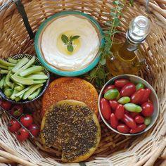Breakfast on the go (to the farm). breakfast lebanon labneh veggies... (Dayr Al Qamar, Mont-Liban, Lebanon)