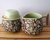 Sugar and Creamer Set - Wheel Thrown Pottery - Stoneware