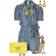 """Preppy Chambray Romper"" by kginger on Polyvore"