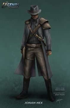 """Concept art of Jonah Hex from CW's DC show """"Legends of Tomorrow"""" by Andy Poon Supergirl Dc, Supergirl And Flash, Dc Comics Art, Marvel Dc Comics, Thundercats, Jonah Hex Movie, Superhero Tv Shows, Cw Dc, Univers Dc"""