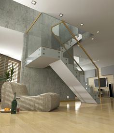 Staircase Can Be Beautiful and Convenient : Staircase Wall With Glass Balustrade Design. Timber Staircase, White Staircase, Interior Staircase, Floating Staircase, Staircase Design, Staircase Ideas, Stair Railing, Balustrade Design, Glass Balustrade