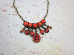 Red beaded vintage necklace antiqued brass large by madebysheri, $22.00