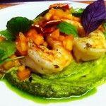 Grilled Shrimp with Avocado Pesto and Diced Melon