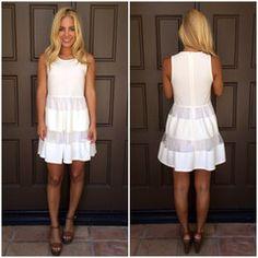 Seventh Heaven Sheer Paneled Dress - WHITE