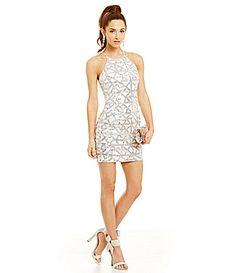 159661e20 B Darlin High Neck Geometric Sequin Pattern Dress #Dillards Pattern Dress,  Dress Patterns,
