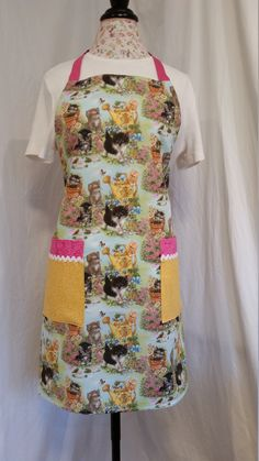 Cute kitty-lover adjustable full-length apron with pink ties by NWCreativeKeepsakes on Etsy Work Aprons, Gardening Apron, Pink Ties, Cute Cats, Purpose, Kitty, Fashion, Pretty Cats, Little Kitty