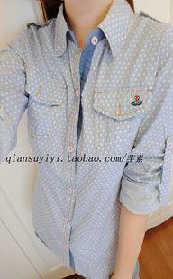 春秋新款女装韩版学院风翻领波点拼色长袖衬衣女休闲学生衬衫-淘宝网
