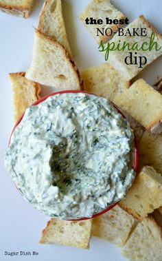 The Best No Bake Spinach Dip - just a few healthy ingredients plus fresh spinach! A must-make. This looks like it will be a good veggie dip!
