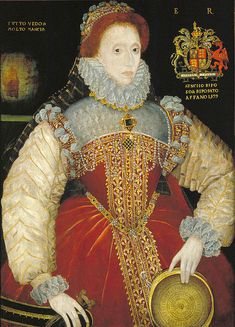 Portrait of Elizabeth I, Queen of England. Painted by George Gower, 1579. She wears a pendant that bears some resemblance to her favored pearl and gemstone pendant, though the gold and pearl backing may imply (1) a painter's fancy, (2) a refashioning of the jewel, or (3) that it is a different pendant.