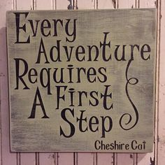 """Handpainted distressed wooden 12"""" x 12"""" Alice in Wonderland """"Every Adventure"""" Cheshire Cat Sign"""