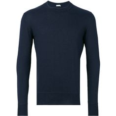Tomas Maier Ribbed Knitted Sweater (57,710 INR) ❤ liked on Polyvore featuring men's fashion, men's clothing, men's sweaters and mens navy sweater