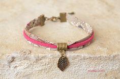 Bracelet liberty, suédine et breloque feuille