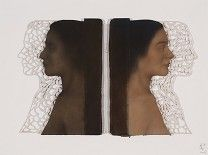 SHANY VAN DEN BERG / MY ECHO, MY SHADOW, MY SELF / OIL ON OLD BOOK COVERS WITH HANDCUT PAPER / 57 X 76.5 cm