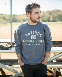 We love a good crew neck sweatshirt. And this one is good. Shop now at www.AntiqueArchaeology.com