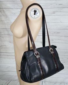 42db62257e Brighton Black Pebbled Leather Brown 3 sections Croc Shoulder Purse Bag  Handbag  Brighton  ShoulderBag