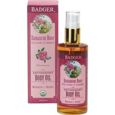 Badger's Damascus Rose Antioxidant Body Oil is a product that you can use every day, after showers and before you go to bed. It has a base of organic jojoba oil, extra virgin olive oil and pomegranate oil which are all very rich in anti-oxidants and vitamins and they're also very moisturizing and super-absorbent so they don't stay greasy on your...