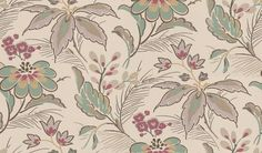 Montacute (NCW4060-01) - Nina Campbell Wallpapers - an Elizabethan-style floral given a contemporary treatment. Including stunning hand painted and metallic effects,  showing in Grape and dark aqua - other colour ways available. Please request a sample for true colour match.