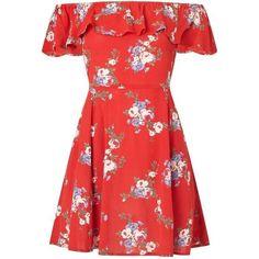 Miss Selfridge PETITE Floral Print Bardot Skater Dress (210 RON) ❤ liked on Polyvore featuring dresses, petite, red, petite red dress, petite dresses, skater dresses, flower printed dress and flower pattern dress