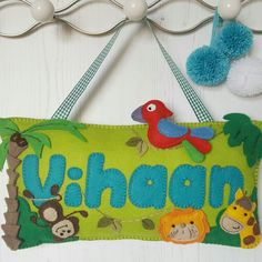 A new jungle animal door sign which matches the jungle name banner beautifully. Who has a little king or queen of the jungle who'd just love this?