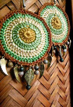 #handmade #fiber art #earrings #crochet #earthy #native american