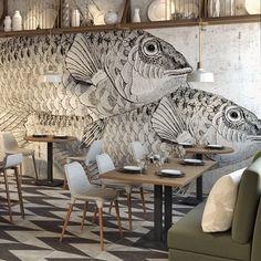 cafe restaurant Memphis Design, Inspiration, I - Restaurant Design, Deco Restaurant, Architecture Restaurant, Restaurant Ideas, Restaurant Fish, Restaurant Facade, Restaurant Interiors, Restaurant Concept, Architecture Design