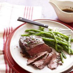 Red Wine Steaks with Green Beans #vegetables #protein #myplate