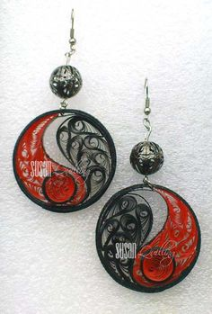 Red and Black Spirit Earrings:  SUSAN QUILLING - My Quilling Jewelry