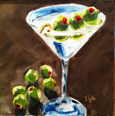 "One Martini, Coming Up' 8""x8"". Oil on panel. Little late night painting. Sarahlytleart.blogspot.com"