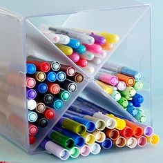 Pen and Marker Storage        Prevent pen and marker frustration by storing your writing utensils sideways. The ink won't pool or dry out. And it is easy to find the color you need.