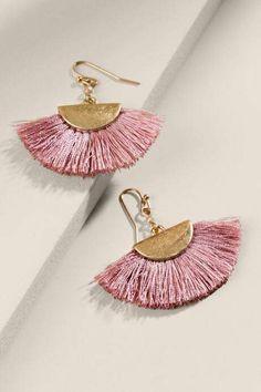 francesca's Rainah Fanned Tassel Earrings - Mauve