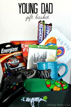 10 Gifts Young Dads Will Dig   A Gift Basket Idea--Not sure what to get the young dad in your life? Check out this DIY gift basket, filled with electronics, snacks, and everything a young dad will love. I love number 9! #ad #collectivebias #dadsmyhero