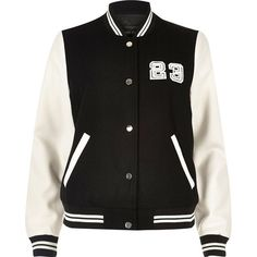 River Island Black and white varsity bomber jacket ($120) ❤ liked on Polyvore featuring outerwear, jackets, black, coats / jackets, women, embroidered jacket, varsity bomber jacket, black white letterman jacket, varsity jacket and river island