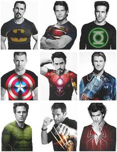 Christian Bale (Dark Knight) + Henry Cavill (Man of the Steel) + Ryan Reynolds (Green Lantern) + Chris Evans (Capt. America) + Robert Downey Jr. (Iron Man) + Chris Hemsworth (Thor) + Mark Ruffalo (Hulk) + Hugh Jackman (Wolverine) + Andrew Garfield (Spiderman)