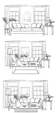 Hand drawn room interior