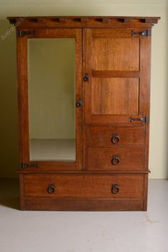 English Arts & Crafts Antique Oak Wardrobe