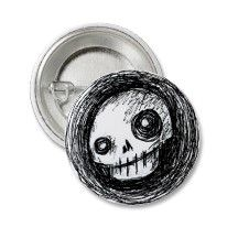 Sketchy Skull Pinback Button