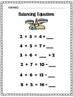 Balancing Equations: Missing Addend, Addition, & Subtraction