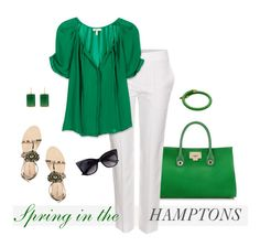 Love the green with white. Very fun casual/dressy look